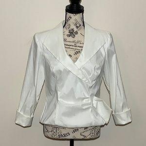 J. R. Nite Faux Wrap Blouse White Size 12